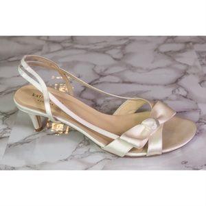 Kate Spade Lover White Satin Slingback Heels